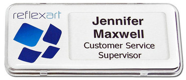 Reusable plastic name badges - Clear border and white background | www.namebadgesinternational.ae